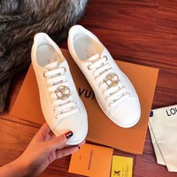 Louis Vuitton LV Leisure Sports Flat-soled Small White Shoes Lace-up Plate Shoes