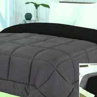 "Cozy Home 1-Piece Microfiber Reversible Solid Comforter - Queen - 86"" x 86"" - (Silver/Black)"