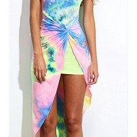 Yellow Pink Blue Green Tie Dye Sleeveless V Neck Wrap Twist Asymmetric Mini Midi Dress