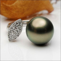 Unique 11mm Black Tahitian Pearl Solid 14K White Gold .21ct Diamonds Ring Size 6