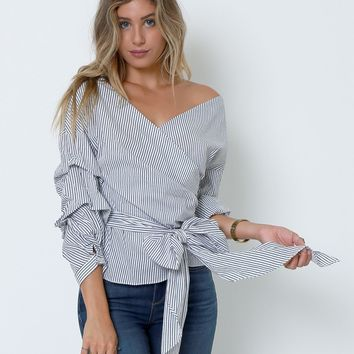 New Ways Wrap Blouse - White/Navy