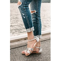 A Step Back Snake Skin H Strap Sandals (Grey Snake)