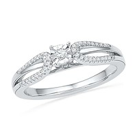 10kt White Gold Womens Round Diamond Solitaire Open-shank Bridal Wedding Engagement Ring 1/6 Cttw 100567