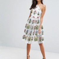 Rare London Mesh Midi Dress In Embroidery at asos.com