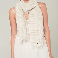 Lighweight striped scarf in beige