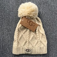 UGG Autumn Winter New Knit Women Men Warm With Small Ball Cap Hat Beige