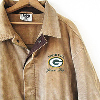 Vintage 90's Green Bay PACKERS Football Embroidered Camel CORDUROY Field Coat Sz XL