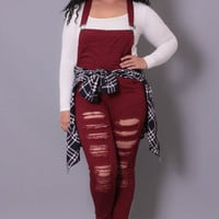 Plus Size Destroyed Overall - Burgundy