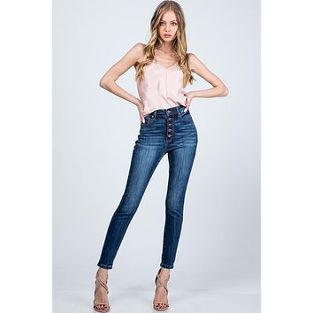 Special A High Rise Skinny Button Fly Jeans