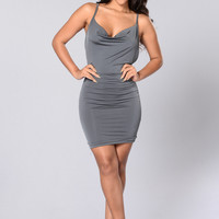 Blame it on the Night Dress - Dark Grey