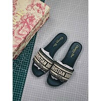 Christian Dior Dway Embroidered Cotton Mule Sandals Green