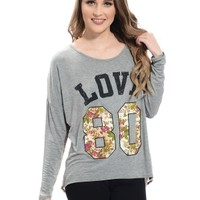 Gray Floral Love Graphic Top   $10   Cheap Trendy Tees Chic Discount Fashion for Women   ModDeals.co