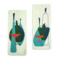 Mid Century Modern Wall Hangings / Painting Signed Jonero with Lucite Spaghetti Crumbles / Chicago Moulding Co Art