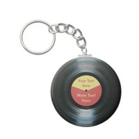 Black Vinyl Music Red and Yellow Record Keyring Key Chain from Zazzle.com
