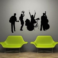 Wall Decal Art Decor Decals Sticker Musical Group Music Song Musician Performer Drum Guitar Contrabass Tambourine (M872)