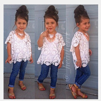 NEW Arrival girls fashion casual suit children clothing summer children suit lace coat+vest+denim pant roupas infantis menina = 1929939460