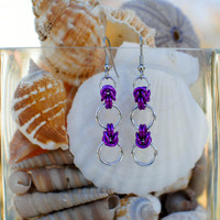 ON SALE - Violet Half-Byzantine Earrings - Ready to Ship