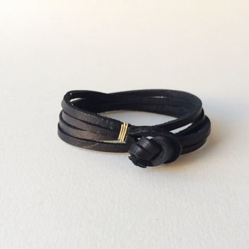 "the ""Double Double"" leather wrap bracelet - black / simple unisex woman man womens mens men's thick minimalist gold silver anniversary knot"