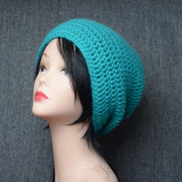 crochet woman hat winter beanie woman gift blue turquoise hat gift for girlfriend winter accessories slouchy beanie