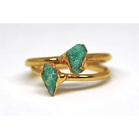 18K Yellow Gold Raw Green Emerald Solitaire Engagement Ring
