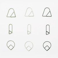 Geometric Paper Clip Set Greens
