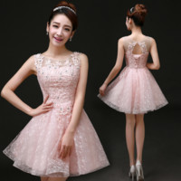 Fashion new wedding dress bride pink wedding bridesmaid dress sisters skirt vest evening dress