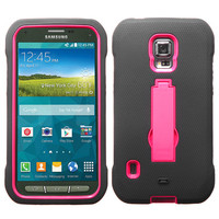 MYBAT Symbiosis Armor Stand Case for Galaxy S5 Active - Hot Pink/Black