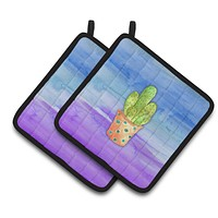 Cactus Blue and Purple Watercolor Pair of Pot Holders BB7363PTHD