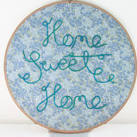 Embroidered hoopla 8 inch hand embroidery wall hanging blue home sweet home decor hand dyed thread on vintage fabric text art