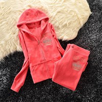 Juicy Couture Studded Bright Crown Velour Tracksuit 31059 2pcs Women Suits Orange Red