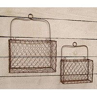 Set of 2 Chicken Wire Wall Baskets