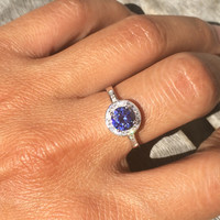 Halo Solitaire Simulated Tanzanite Promise Engagement Ring .925 Sterling Silver Ring