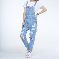 2017 New Long Women Vintage Ripped Holes Black Overalls Ladies Boyfriend Style White Light Blue Spring Fall Female Jeans Size L