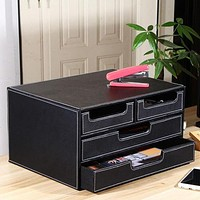 3-layer 4-drawer Wood Leather Desk Set Filing Cabinet Storage Box Office Organizer File Drawer Document Container ZA4639