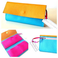 Pitti Vintage Wallet Womens Wallet Vegan Wallet Bright blue turquoise pink and camel