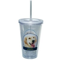 Golder Retriever Portait Plastic Pint Cup With Straw