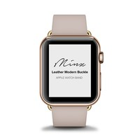 Magnetic Buckle Leather Apple Watch Band - Rose Gold