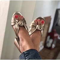DV Knotted Mules Heels - Metallic Gold
