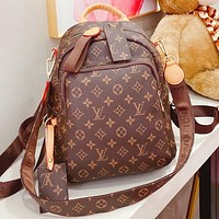 LV Fashion New Monogram Print Leather Handbag Backpack Bag Book Bag