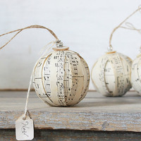 Rustic Rag Ball Ornaments Vintage Sheet Music by ClothandPatina