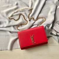 YSL SAINT LAURENT WOMEN'S LEATHER KATE INCLINED CHAIN SHOULDER BAG