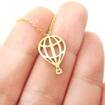 Miniature Hot Air Balloon Shaped Cut Out Charm Necklace in Gold | DOTOLY