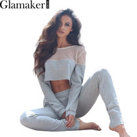 Glamaker Mesh sexy jumpsuit romper 2016 long sleeve short top casual pants outfits Pockets o neck autumn rompers womens jumpsuit