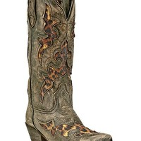 Laredo Leopard Print Leather Inlay Cowgirl Boots - Snip Toe - Sheplers