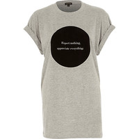 River Island Womens Grey expect nothing print oversized t-shirt