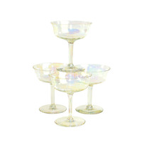 Iridescent Luster Crystal Cordial Goblets (Set of 4) - Aurora Borealis Rainbow Shine, Water / Wine Bar Drinks Serving - Vintage Home