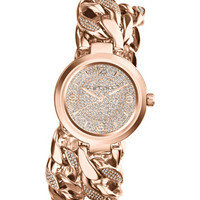 Michael Kors Mid-Size Rose Golden Ellie Three-Hand Glitz Watch