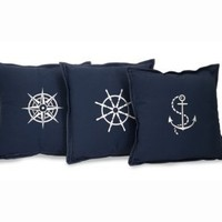 """Set of 3 Nautical Embroidered Navy Blue Square Throw Pillows 14"""": Home & Kitchen"""