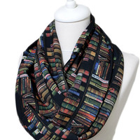 Bookshelf Infinity Scarf, Colored Book Scarf, Library Scarf Circle Scarf Gift ideas for her, Spring - Summer - Fall - Winter Session