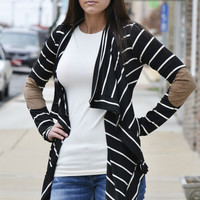 Lightweight Patch Open Cardigan Plus